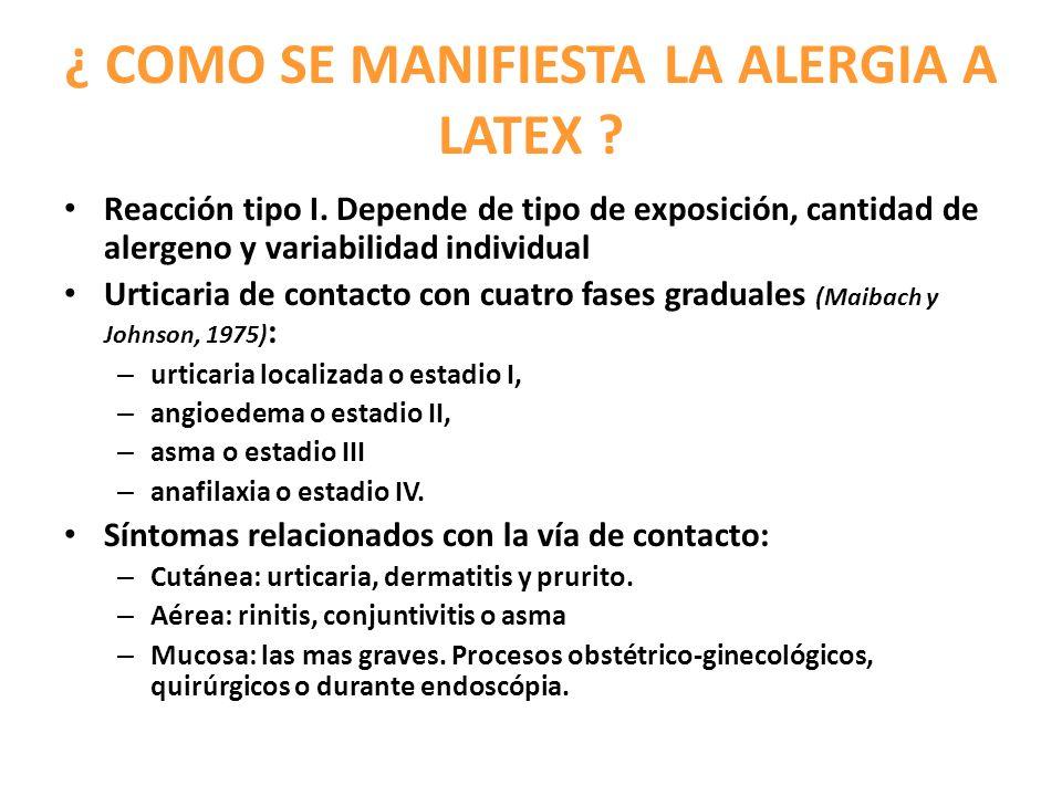 ¿ COMO SE MANIFIESTA LA ALERGIA A LATEX ? Reacción tipo I. Depende de tipo de exposición, cantidad de alergeno y variabilidad individual Urticaria de