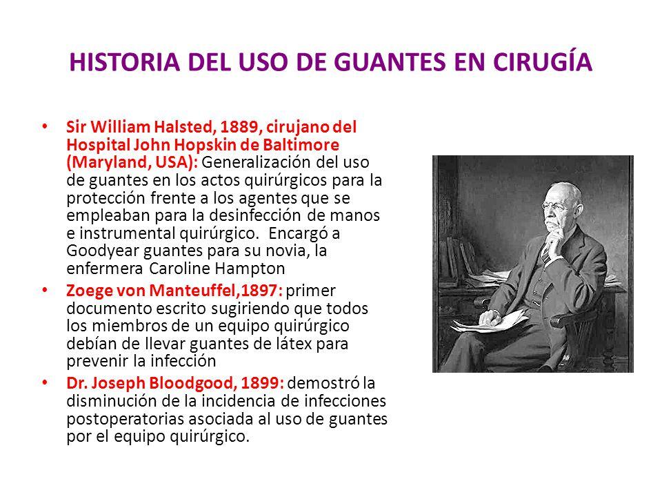 HISTORIA DEL USO DE GUANTES EN CIRUGÍA Sir William Halsted, 1889, cirujano del Hospital John Hopskin de Baltimore (Maryland, USA): Generalización del