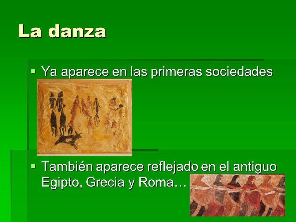 La danza Ya aparece en las primeras sociedades Ya aparece en las primeras sociedades También aparece reflejado en el antiguo Egipto, Grecia y Roma… Ta