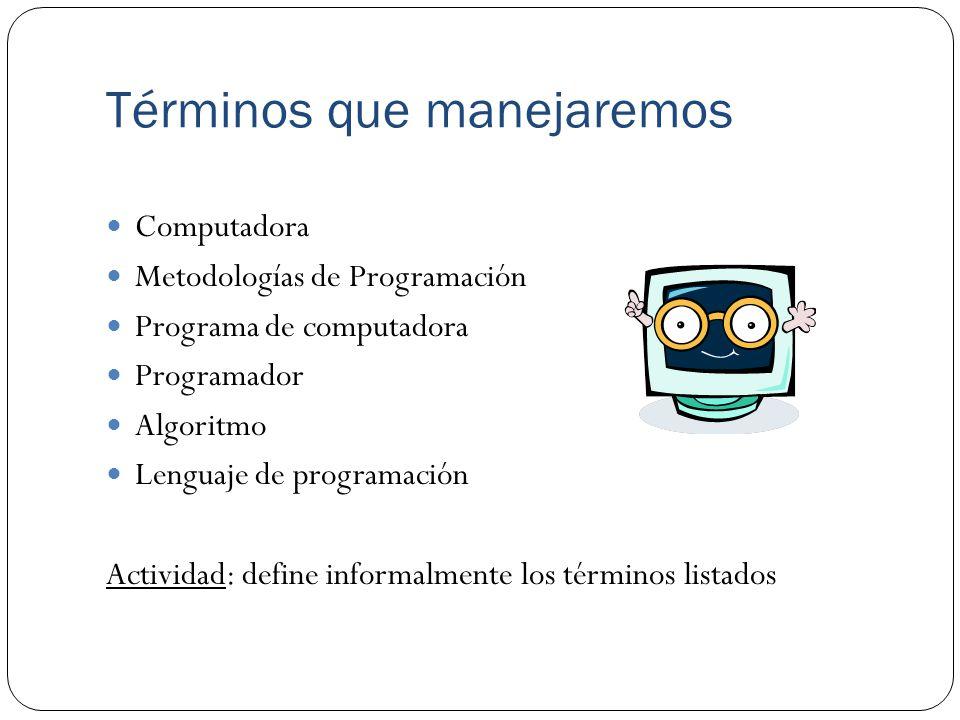 Términos que manejaremos Computadora Metodologías de Programación Programa de computadora Programador Algoritmo Lenguaje de programación Actividad: define informalmente los términos listados