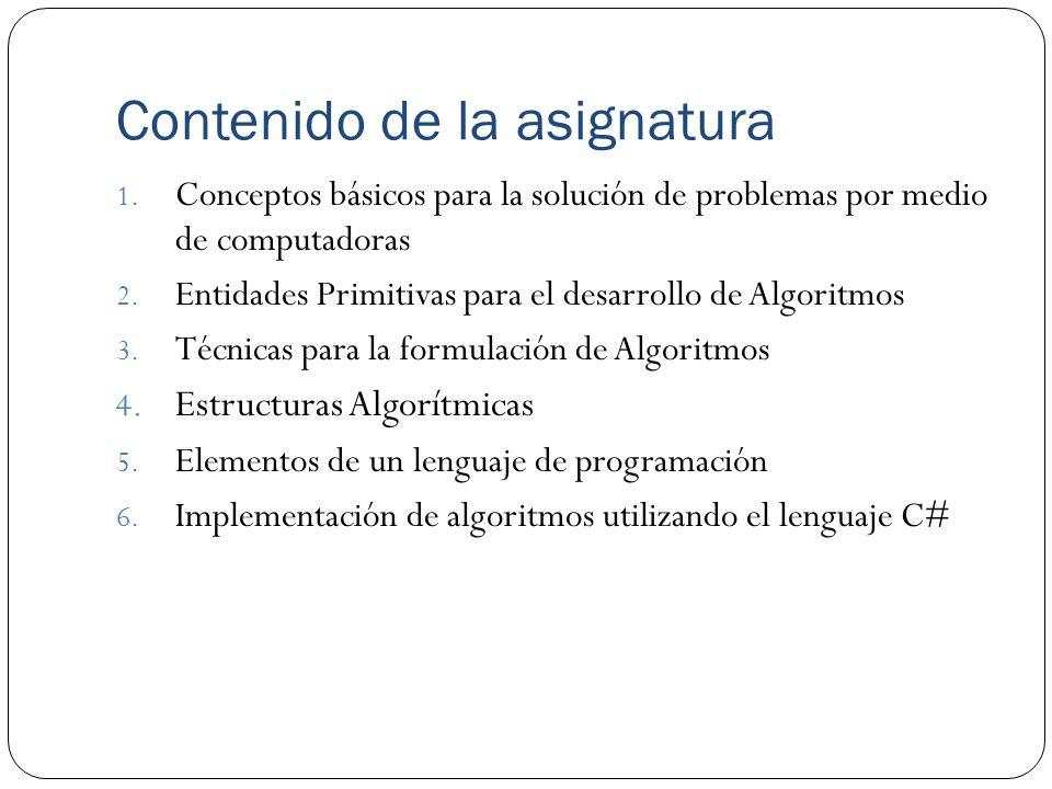 Contenido de la asignatura 1. Conceptos básicos para la solución de problemas por medio de computadoras 2. Entidades Primitivas para el desarrollo de