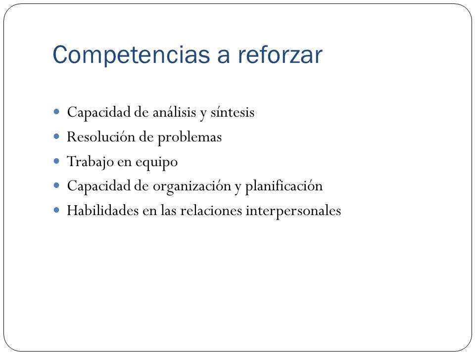 Competencias a reforzar Capacidad de análisis y síntesis Resolución de problemas Trabajo en equipo Capacidad de organización y planificación Habilidades en las relaciones interpersonales