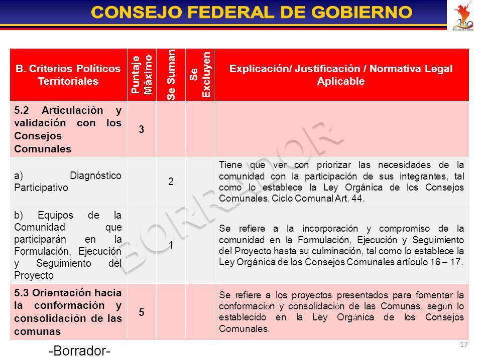 17 Se refiere a los proyectos presentados para fomentar la conformaci ó n y consolidaci ó n de las Comunas, seg ú n lo establecido en la Ley Org á nic