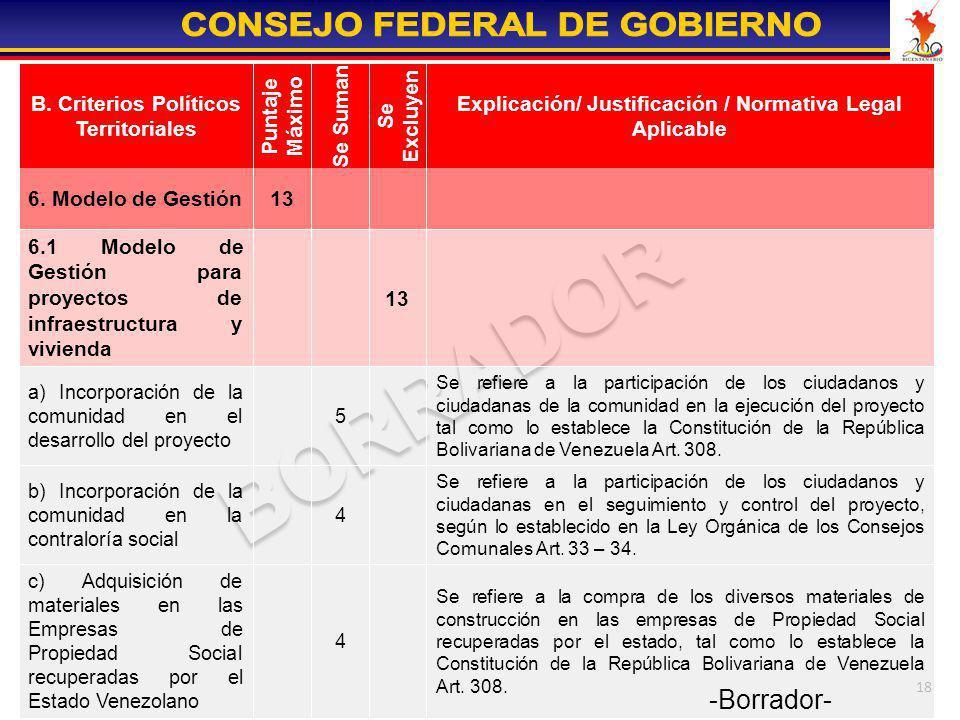 18 Se refiere a la participación de los ciudadanos y ciudadanas en el seguimiento y control del proyecto, según lo establecido en la Ley Orgánica de l