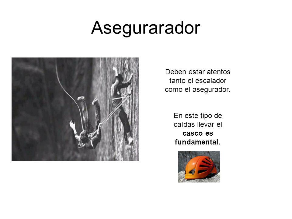 Asegurarador Deben estar atentos tanto el escalador como el asegurador. En este tipo de caídas llevar el casco es fundamental.