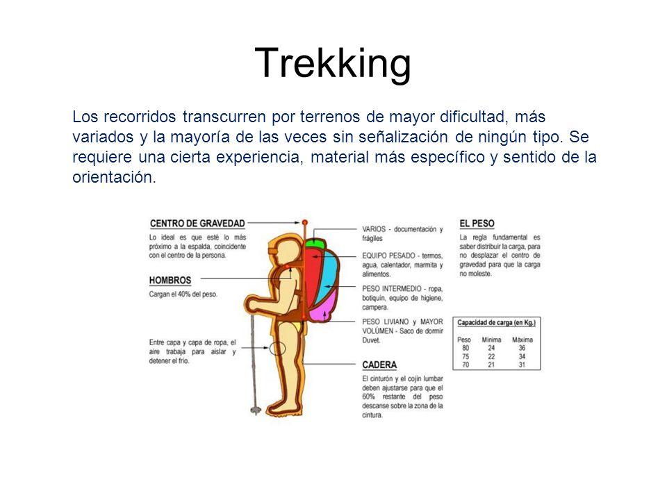 Trekking Los recorridos transcurren por terrenos de mayor dificultad, más variados y la mayoría de las veces sin señalización de ningún tipo. Se requi
