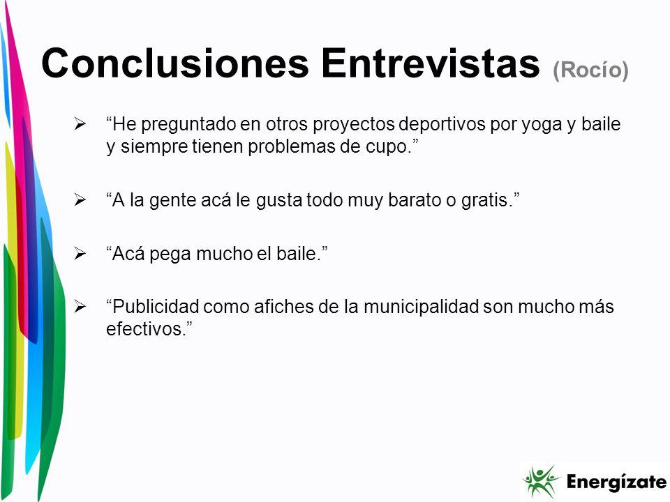 Conclusiones Entrevistas (Rocío) He preguntado en otros proyectos deportivos por yoga y baile y siempre tienen problemas de cupo.