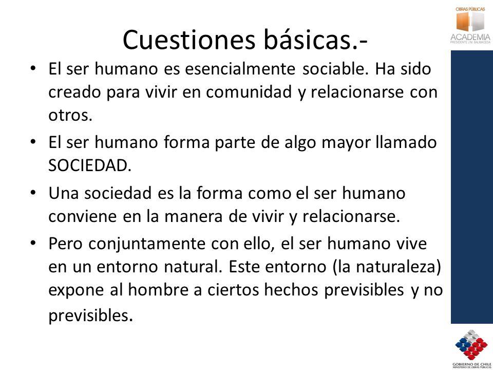 Cuestiones básicas.- El ser humano es esencialmente sociable.
