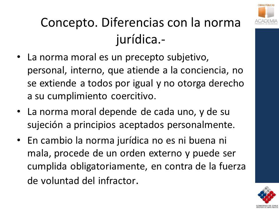 Concepto. Diferencias con la norma jurídica.- La norma moral es un precepto subjetivo, personal, interno, que atiende a la conciencia, no se extiende