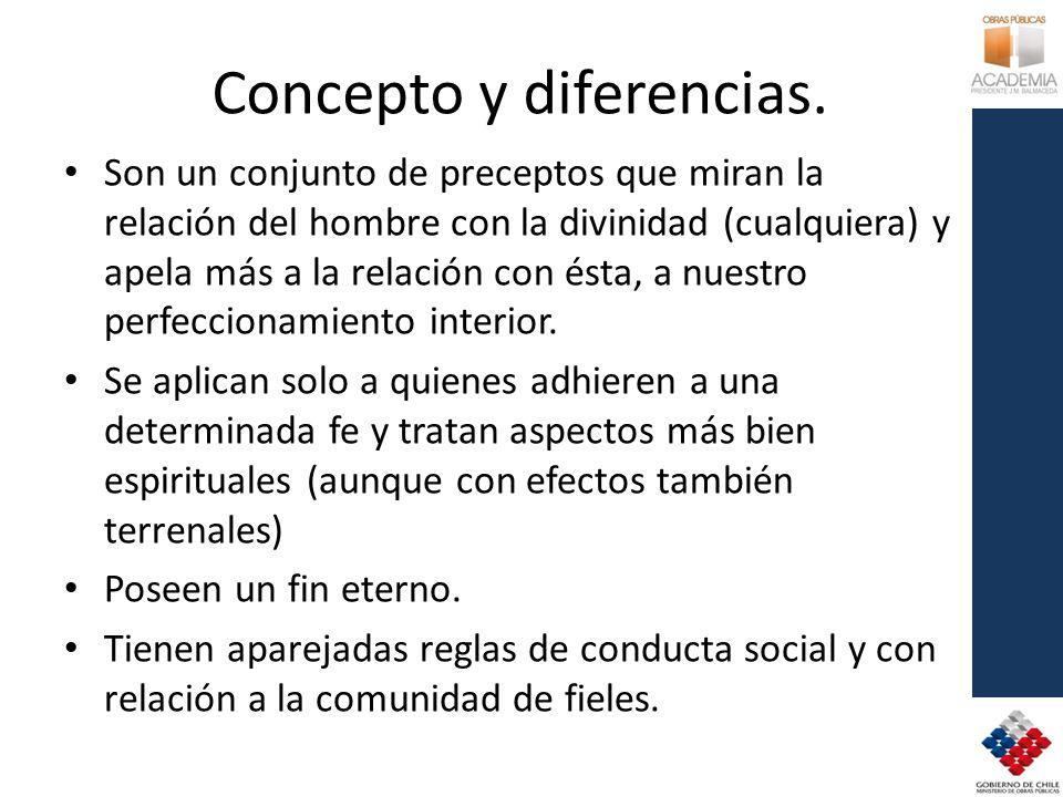 Concepto y diferencias. Son un conjunto de preceptos que miran la relación del hombre con la divinidad (cualquiera) y apela más a la relación con ésta