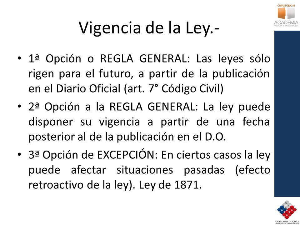 Vigencia de la Ley.- 1ª Opción o REGLA GENERAL: Las leyes sólo rigen para el futuro, a partir de la publicación en el Diario Oficial (art. 7° Código C