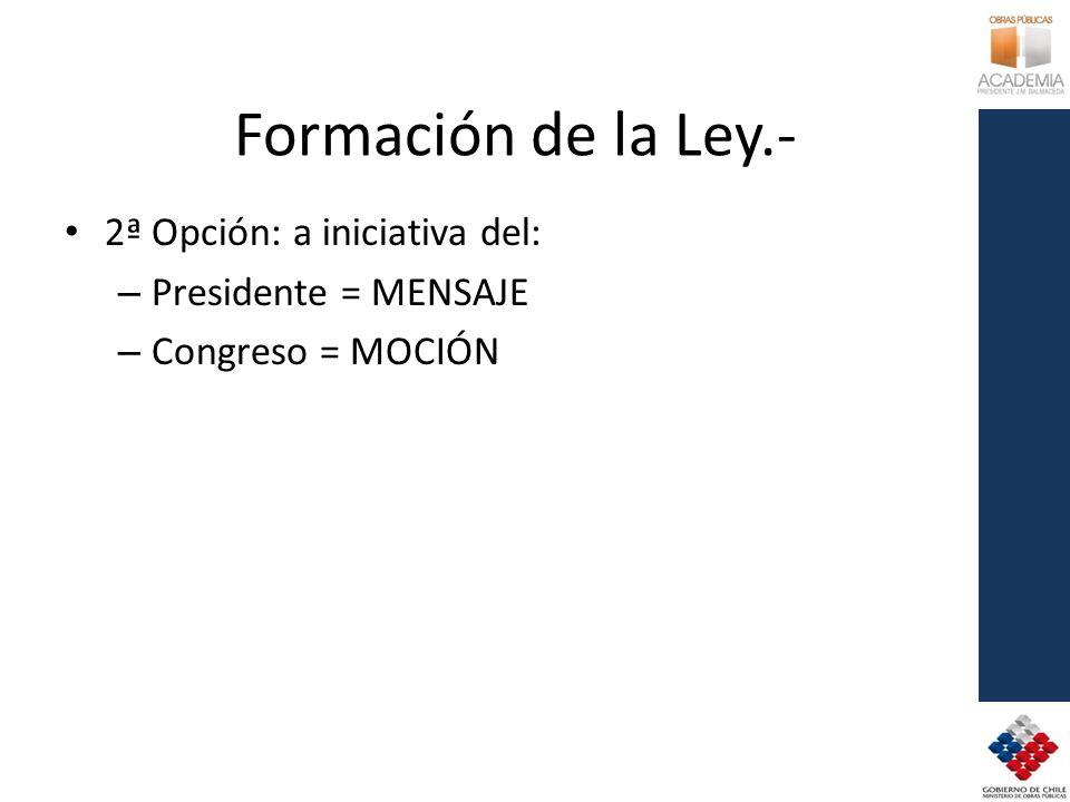 Formación de la Ley.- 2ª Opción: a iniciativa del: – Presidente = MENSAJE – Congreso = MOCIÓN