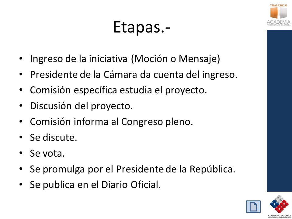 Etapas.- Ingreso de la iniciativa (Moción o Mensaje) Presidente de la Cámara da cuenta del ingreso. Comisión específica estudia el proyecto. Discusión