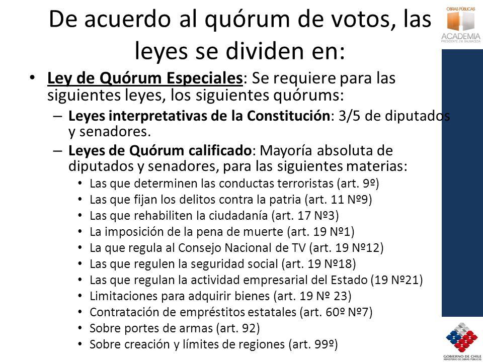 De acuerdo al quórum de votos, las leyes se dividen en: Ley de Quórum Especiales: Se requiere para las siguientes leyes, los siguientes quórums: – Leyes interpretativas de la Constitución: 3/5 de diputados y senadores.