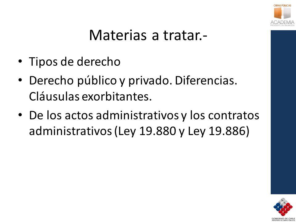 Materias a tratar.- Tipos de derecho Derecho público y privado. Diferencias. Cláusulas exorbitantes. De los actos administrativos y los contratos admi
