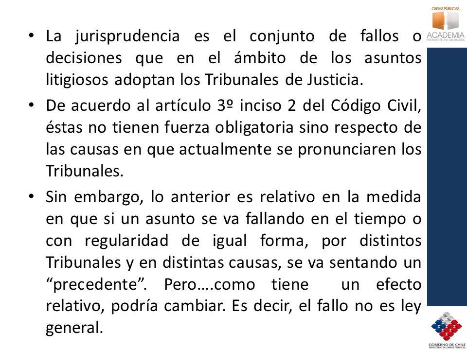 La jurisprudencia es el conjunto de fallos o decisiones que en el ámbito de los asuntos litigiosos adoptan los Tribunales de Justicia. De acuerdo al a