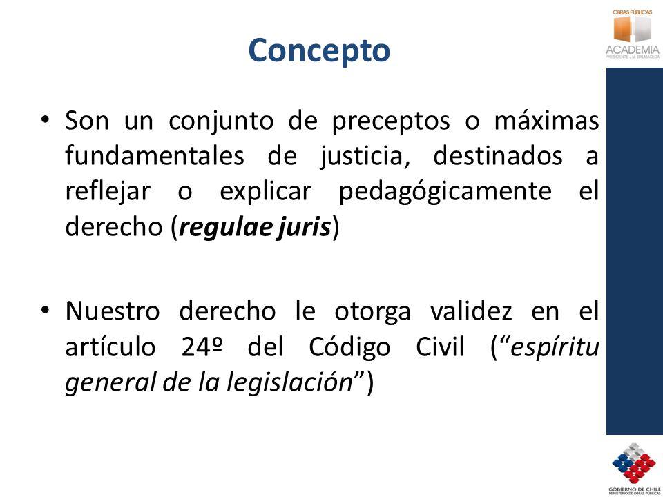 Concepto Son un conjunto de preceptos o máximas fundamentales de justicia, destinados a reflejar o explicar pedagógicamente el derecho (regulae juris) Nuestro derecho le otorga validez en el artículo 24º del Código Civil (espíritu general de la legislación)