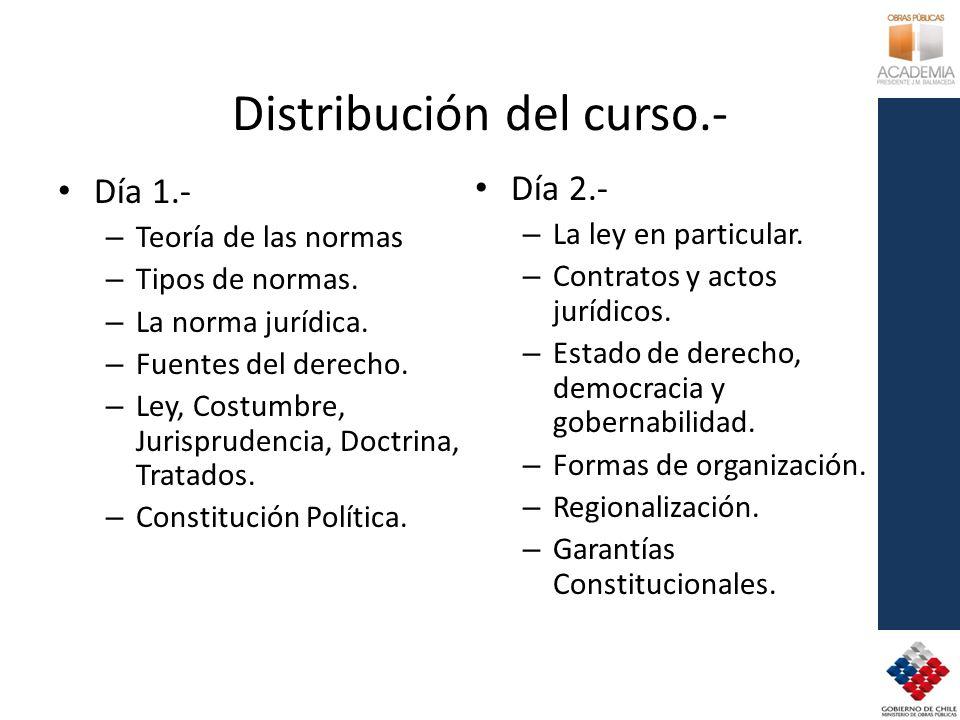 Distribución del curso.- Día 1.- – Teoría de las normas – Tipos de normas. – La norma jurídica. – Fuentes del derecho. – Ley, Costumbre, Jurisprudenci