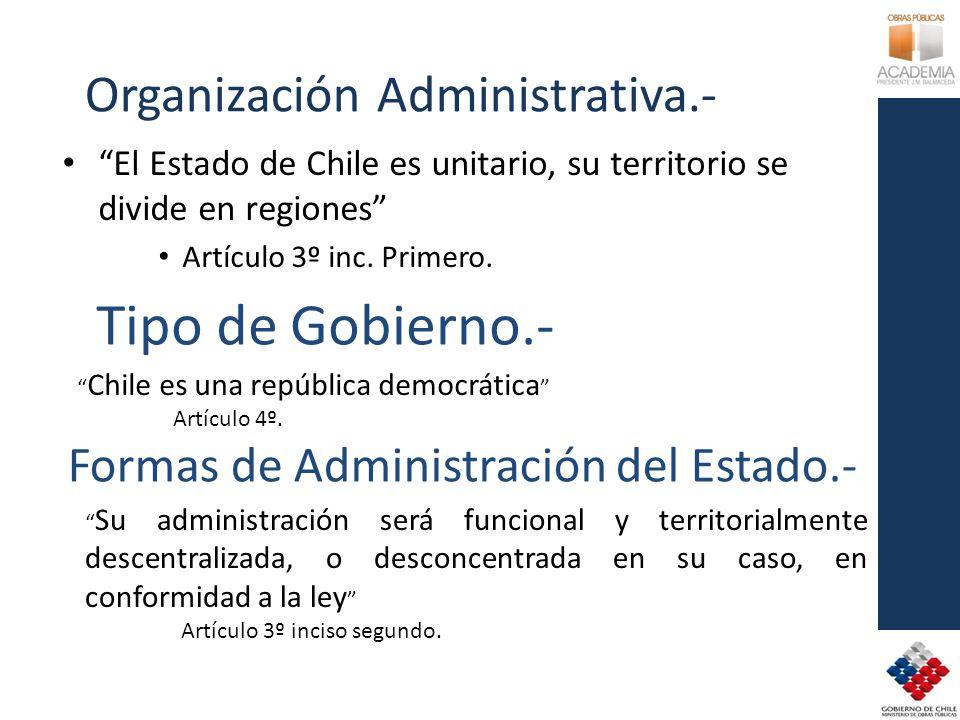 Organización Administrativa.- El Estado de Chile es unitario, su territorio se divide en regiones Artículo 3º inc. Primero. Tipo de Gobierno.- Chile e