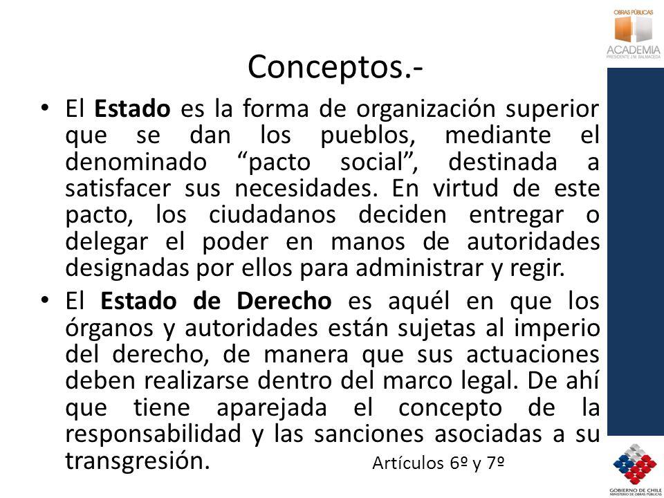 Conceptos.- El Estado es la forma de organización superior que se dan los pueblos, mediante el denominado pacto social, destinada a satisfacer sus necesidades.