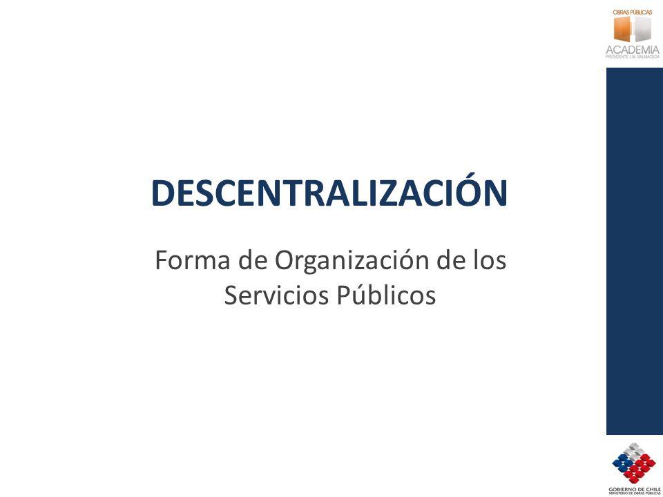 DESCENTRALIZACIÓN Forma de Organización de los Servicios Públicos