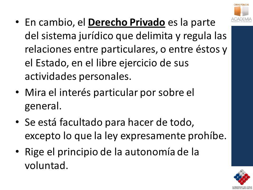 En cambio, el Derecho Privado es la parte del sistema jurídico que delimita y regula las relaciones entre particulares, o entre éstos y el Estado, en el libre ejercicio de sus actividades personales.