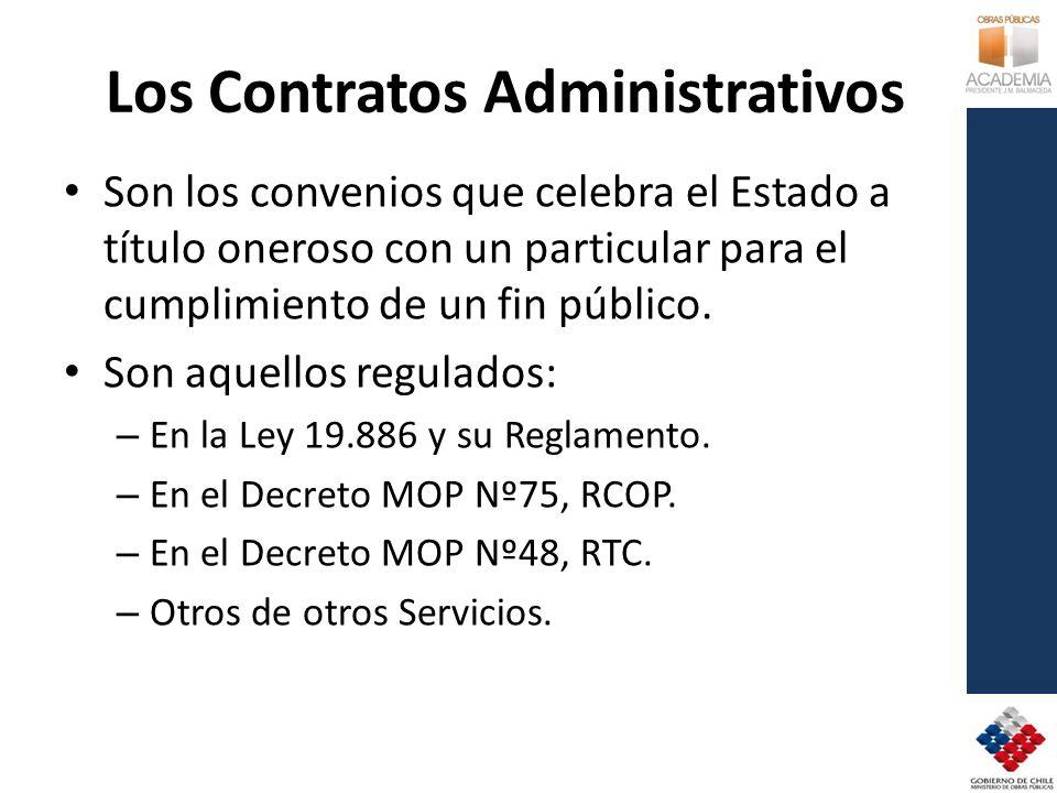 Los Contratos Administrativos Son los convenios que celebra el Estado a título oneroso con un particular para el cumplimiento de un fin público.