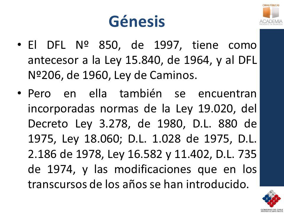 Génesis El DFL Nº 850, de 1997, tiene como antecesor a la Ley 15.840, de 1964, y al DFL Nº206, de 1960, Ley de Caminos. Pero en ella también se encuen