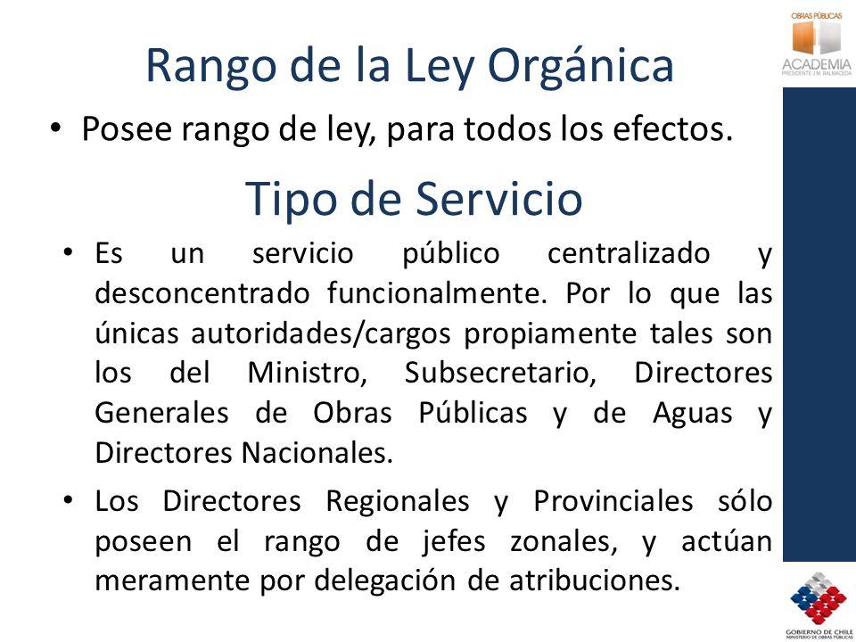 Rango de la Ley Orgánica Posee rango de ley, para todos los efectos. Tipo de Servicio Es un servicio público centralizado y desconcentrado funcionalme