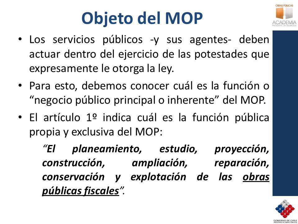 Objeto del MOP Los servicios públicos -y sus agentes- deben actuar dentro del ejercicio de las potestades que expresamente le otorga la ley. Para esto