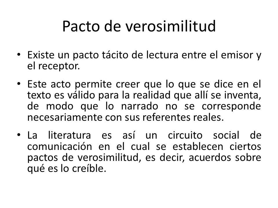 Pacto de verosimilitud Existe un pacto tácito de lectura entre el emisor y el receptor. Este acto permite creer que lo que se dice en el texto es váli