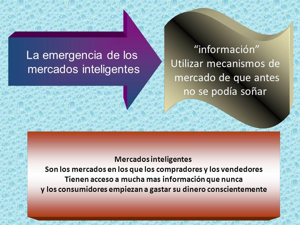 La emergencia de los mercados inteligentes información Utilizar mecanismos de mercado de que antes no se podía soñar Mercados inteligentes Son los mer