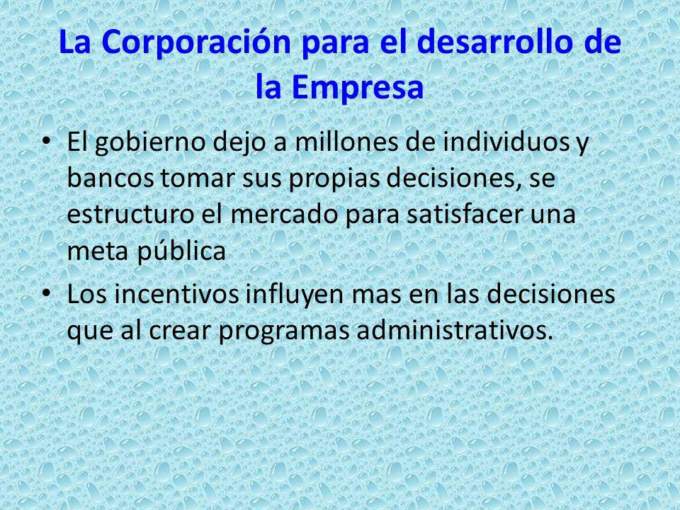 La Corporación para el desarrollo de la Empresa El gobierno dejo a millones de individuos y bancos tomar sus propias decisiones, se estructuro el merc