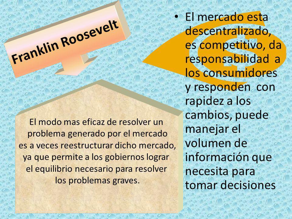 Franklin Roosevelt El modo mas eficaz de resolver un problema generado por el mercado es a veces reestructurar dicho mercado, ya que permite a los gob