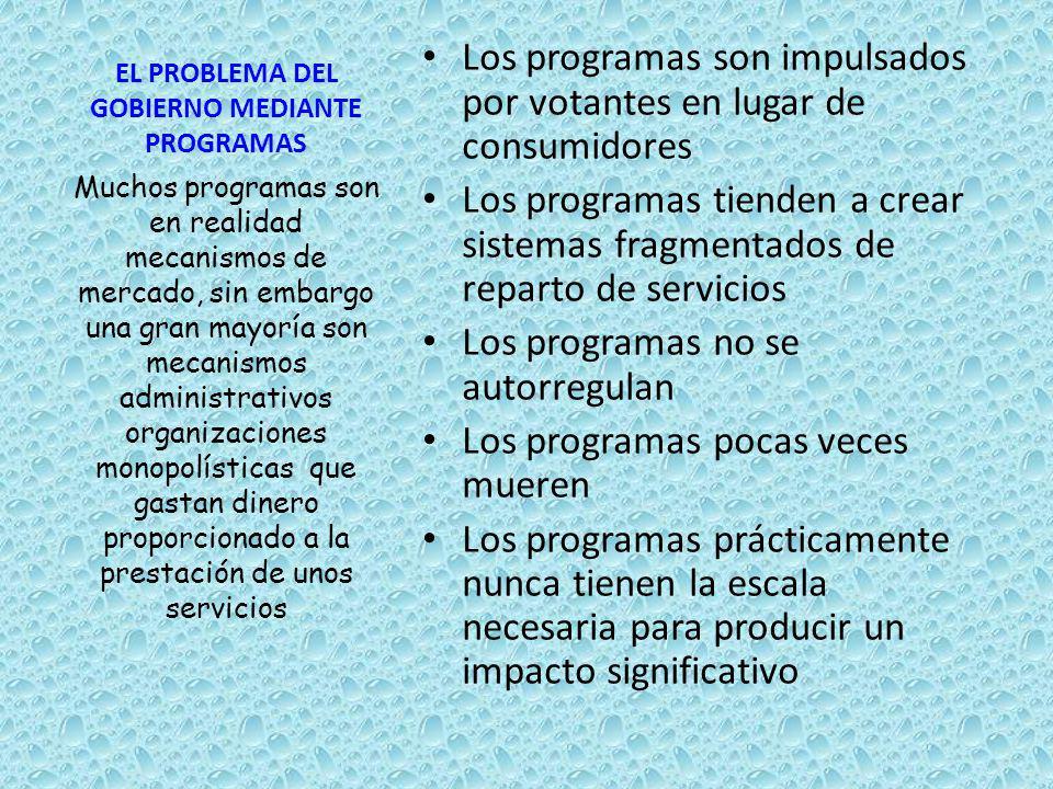 EL PROBLEMA DEL GOBIERNO MEDIANTE PROGRAMAS Los programas son impulsados por votantes en lugar de consumidores Los programas tienden a crear sistemas