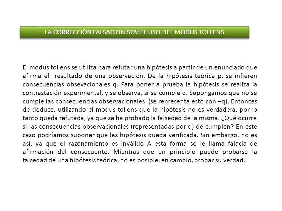 LAS CONSECUENCIAS DE LA CORRECIÓN FALSACIONISTA ANTINDUCTIVISMO CARÁCTER HIPOTÉTICO DEL CONOCIMIENTO CIENTÍFICO EL RECHAZO A LA POSIBILIDAD DE LA VERIFICACIÓN LA REFUTABILIDAD COMO PRINCIPIO DE DEMARCACIÓN CIENTÍFICA APELA AL RAZONAMIENTO VÁLIDO DEL MODUS TOLLENS EN APOYO DE TODA INVESTIGACIÓN CIENTÍFICA FALSACIONISMO METODOLÓGICO ANTINDUCTIVISMO CARÁCTER HIPOTÉTICO DEL CONOCIMIENTO CIENTÍFICO EL RECHAZO A LA POSIBILIDAD DE LA VERIFICACIÓN LA REFUTABILIDAD COMO PRINCIPIO DE DEMARCACIÓN CIENTÍFICA APELA AL RAZONAMIENTO VÁLIDO DEL MODUS TOLLENS EN APOYO DE TODA INVESTIGACIÓN CIENTÍFICA FALSACIONISMO METODOLÓGICO