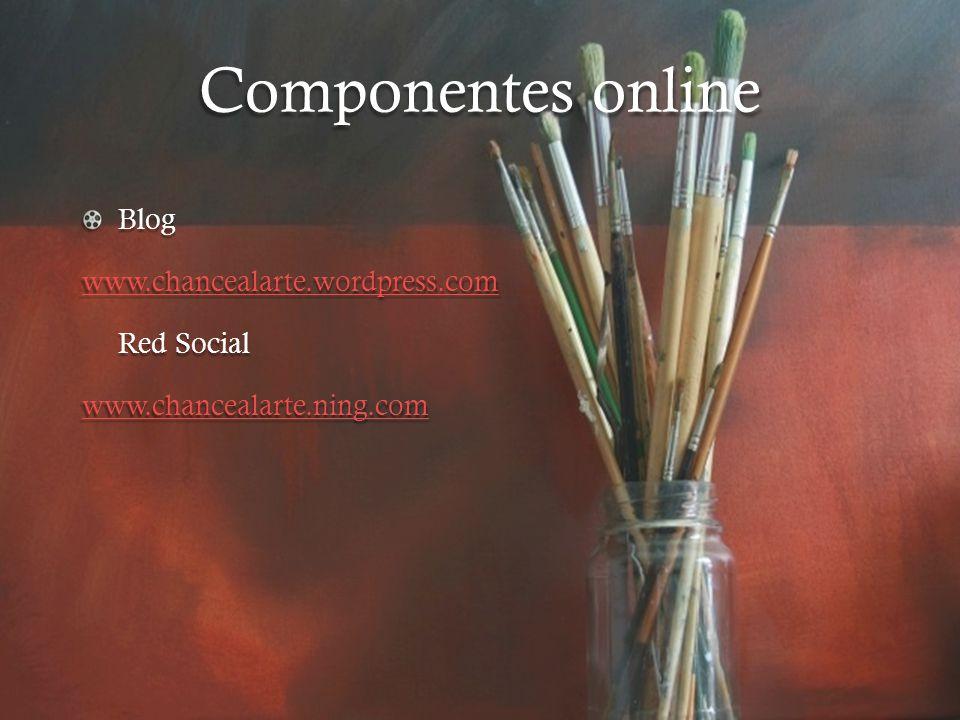 Componentes online Blog www.chancealarte.wordpress.com Red Social www.chancealarte.ning.com
