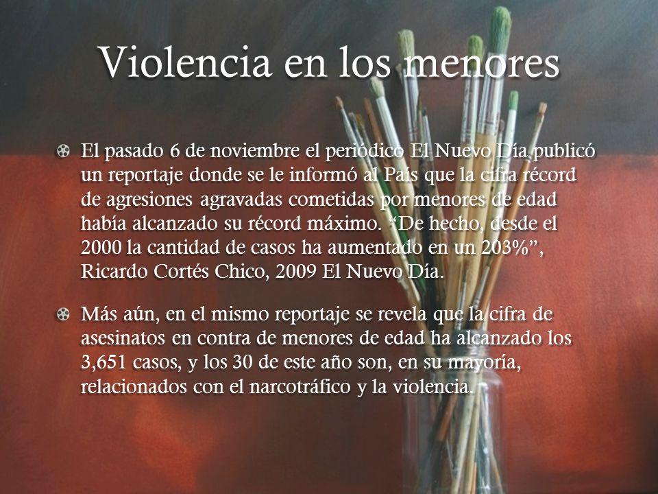 Violencia en los menores El pasado 6 de noviembre el periódico El Nuevo Día publicó un reportaje donde se le informó al País que la cifra récord de agresiones agravadas cometidas por menores de edad había alcanzado su récord máximo.