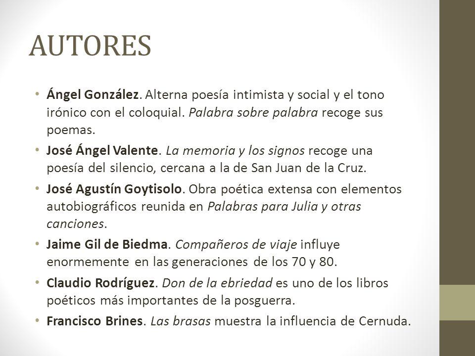 AUTORES Ángel González. Alterna poesía intimista y social y el tono irónico con el coloquial. Palabra sobre palabra recoge sus poemas. José Ángel Vale