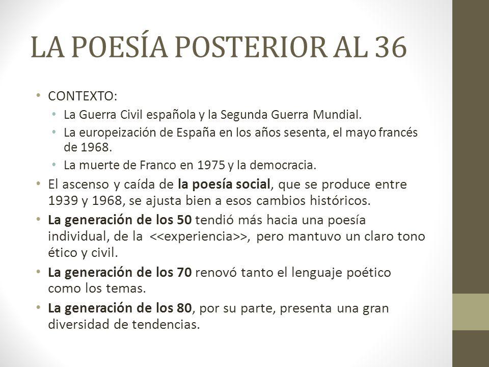 LA POESÍA POSTERIOR AL 36 CONTEXTO: La Guerra Civil española y la Segunda Guerra Mundial. La europeización de España en los años sesenta, el mayo fran