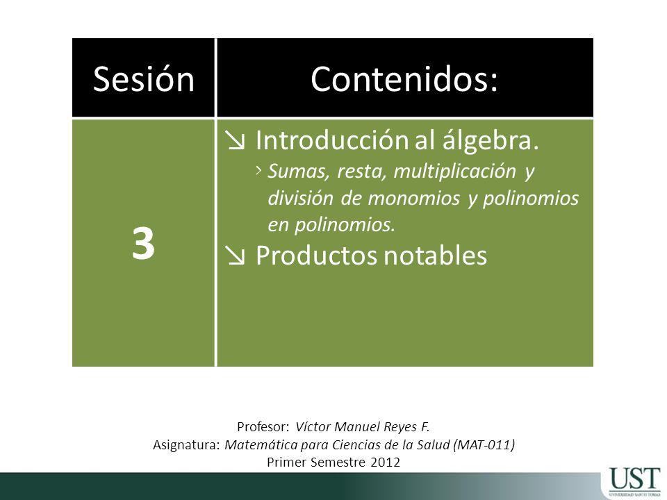 SesiónContenidos: 3 Introducción al álgebra.