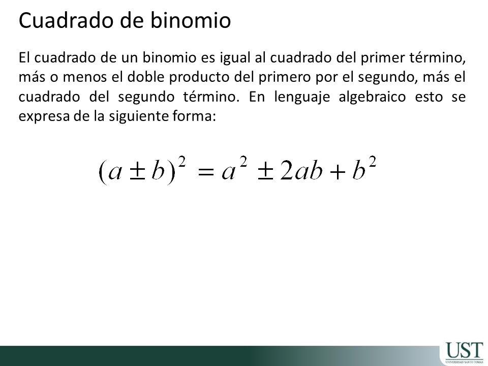 El cuadrado de un binomio es igual al cuadrado del primer término, más o menos el doble producto del primero por el segundo, más el cuadrado del segundo término.