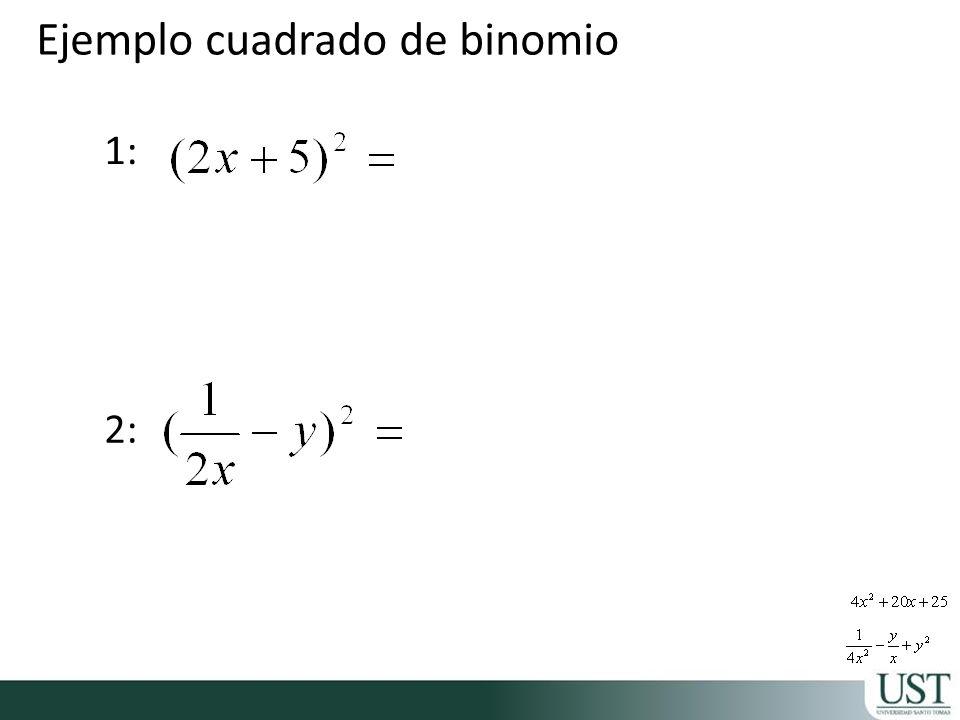 1: 2: Ejemplo cuadrado de binomio