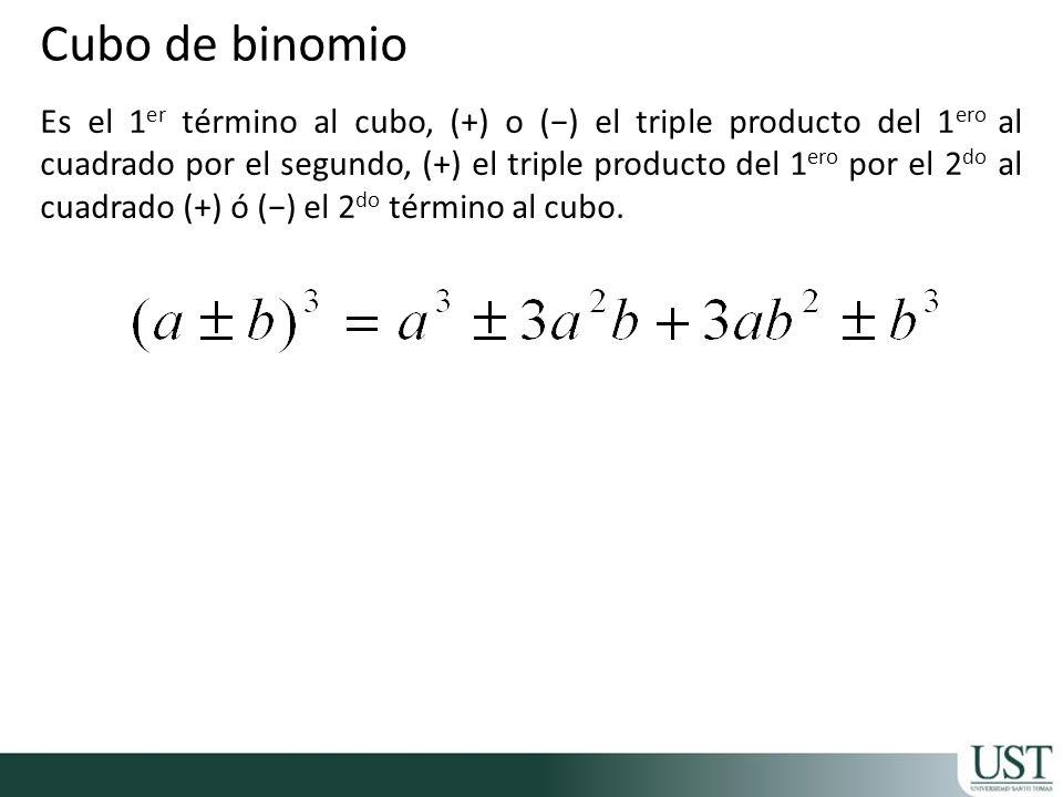Es el 1 er término al cubo, (+) o () el triple producto del 1 ero al cuadrado por el segundo, (+) el triple producto del 1 ero por el 2 do al cuadrado (+) ó () el 2 do término al cubo.