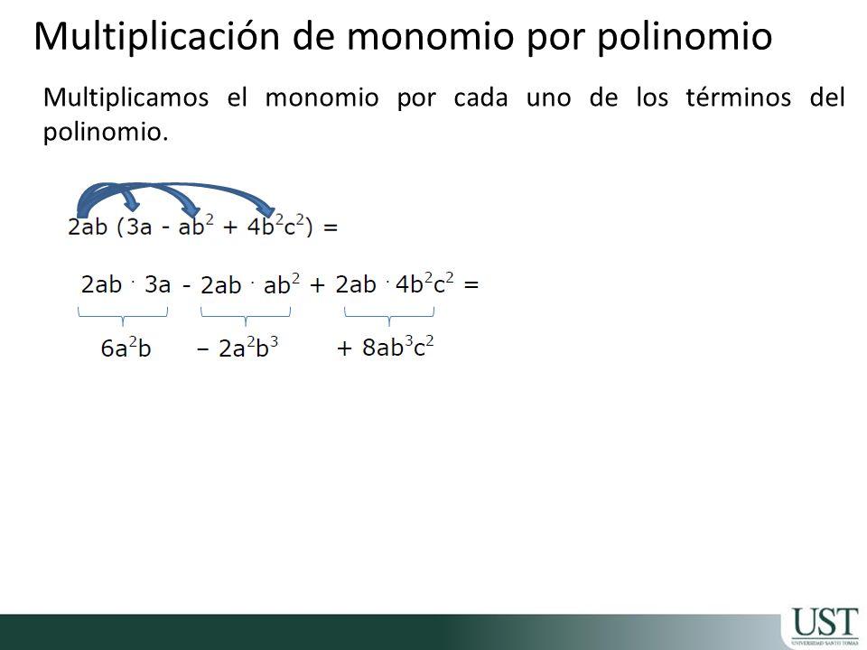 Multiplicación de monomio por polinomio Multiplicamos el monomio por cada uno de los términos del polinomio.