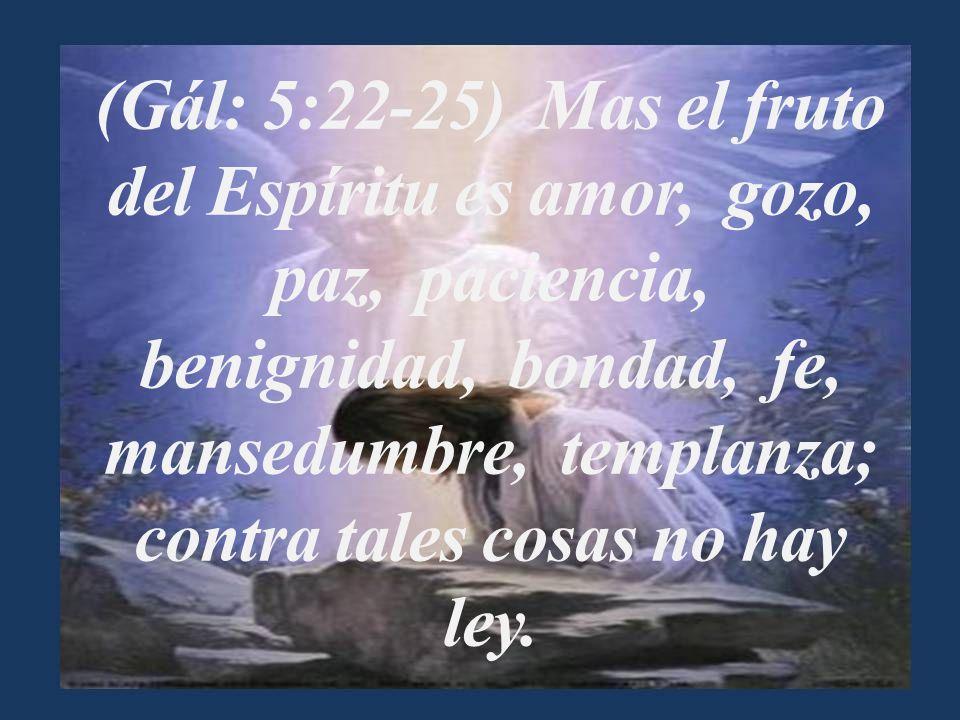 (Gál: 5:22-25) Mas el fruto del Espíritu es amor, gozo, paz, paciencia, benignidad, bondad, fe, mansedumbre, templanza; contra tales cosas no hay ley.