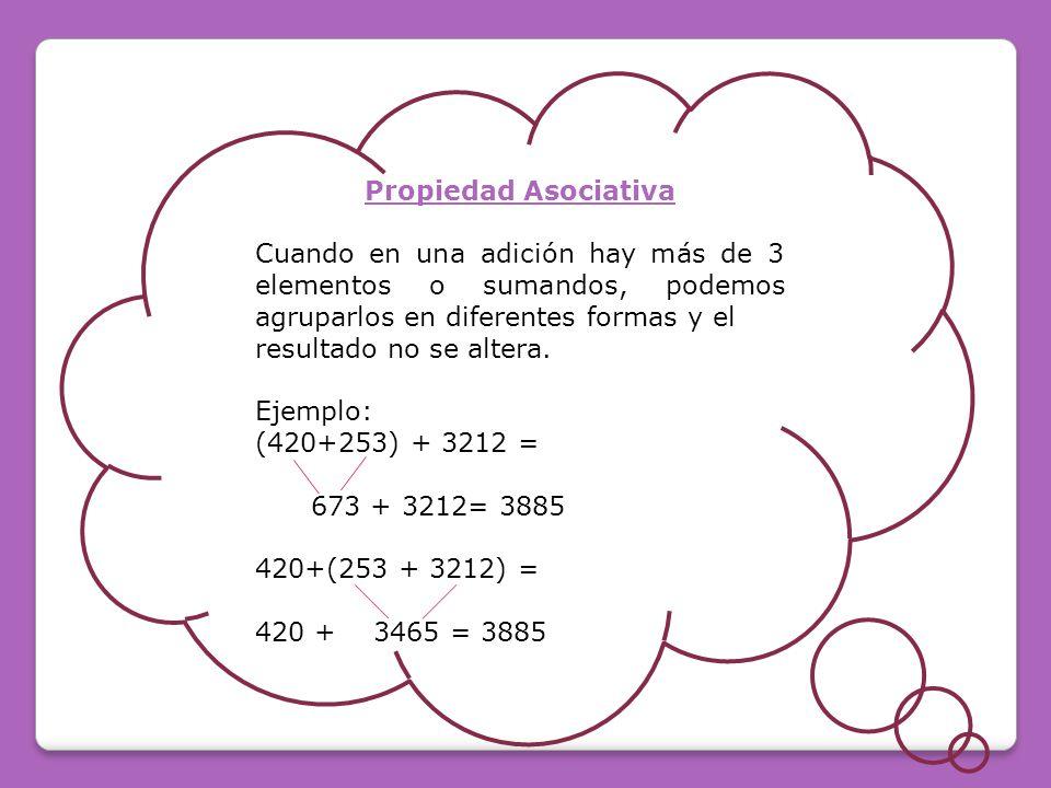 Propiedad Asociativa Cuando en una adición hay más de 3 elementos o sumandos, podemos agruparlos en diferentes formas y el resultado no se altera.