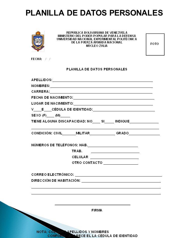 PLANILLA DE DATOS PERSONALES