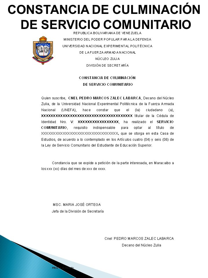 CONSTANCIA DE CULMINACIÓN DE SERVICIO COMUNITARIO