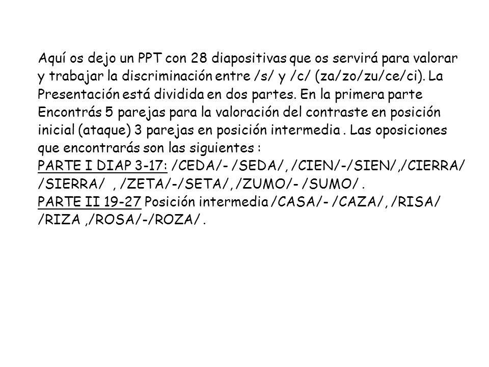 Aquí os dejo un PPT con 28 diapositivas que os servirá para valorar y trabajar la discriminación entre /s/ y /c/ (za/zo/zu/ce/ci). La Presentación est
